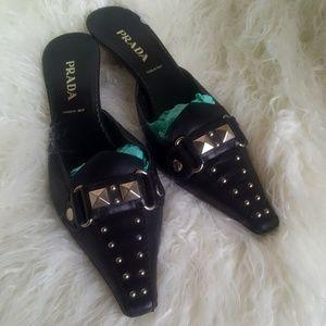 Prada | Studded Black Leather Pointy-Toe Mules